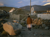 Aymara Indian Woman Walks Through her Village in the Chilean Andes Photographic Print by Joel Sartore