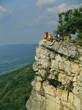 Cyclists Relax on a Rock Outcropping Overlooking Germany Valley Photographic Print by Skip Brown