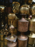 Brass Vessels at a Vendors Stall in a Downtown Bazaar Photographic Print