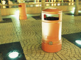 Orange Trash Cans on a Tiled Pavement in Kowloon, Hong Kong Photographic Print