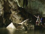Spelunkers Explore an Underwater River in Mil Columnas Cave Photographic Print by Bill Hatcher