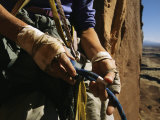 Rock Climber Becky Halls Wrapped Hands and Climbing Gear Photographic Print by Bill Hatcher