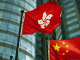 The Flag of Hong Kong Next to a Peoples Republic of China Flag Photographic Print