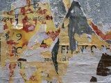 Close-Up of Torn Posters on a Wall in Venice Photographic Print by Todd Gipstein