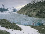 Adventurer Explores the Nellie Juan Glacier at Midnight Photographic Print by Bill Hatcher