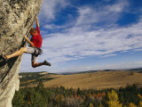 Young Man Climbing the Rock Feature Known as Bobcat Logic Photographic Print