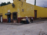 Vendor Selling Food on a Street Corner in San Miguel De Allende Photographic Print by Gina Martin