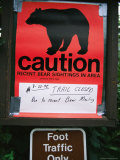 Posted Sign Warning of Bear Sightings Photographic Print by Rich Reid