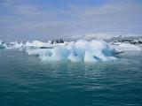 Icebergs from the Breidamerkurjokull Glacier Float in Glacier Lagoon Photographic Print by Sisse Brimberg