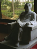 Seated Stone Statue of Mao near a Window Overlooking Nanjie Photographic Print