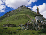 Small Stupa with Prayer Flags in the Mountains near Terdrom Nunnery Photographic Print