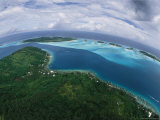 Bora Bora as Seen from a Helicopter Photographic Print by Todd Gipstein