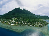 Bora Bora Center Peak as Seen from a Helicopter Photographic Print by Todd Gipstein