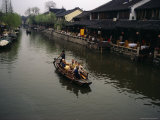 Tourists in a Traditional Boat on One of Zhouzhoungs Many Canals Photographic Print