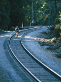 Biking along the Railroad Tracks near Santa Barbara Photographic Print by Rich Reid