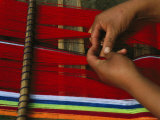 Peruvian Woman Weaving with Colorful Yarn Photographic Print by Gordon Wiltsie