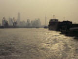 Barges on the Huang Pu River with Pudong in the Background Photographic Print