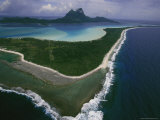 Bora Bora as Seen from above in a Helicopter Photographic Print by Todd Gipstein