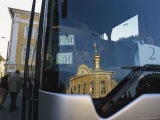 The Chapel Royal Dome of the Peterhof Is Reflected in a Bus Window Photographic Print by Sisse Brimberg