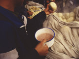 Kung Fu Students Breakfast on Steamed Breads and Rice Porridge Photographic Print