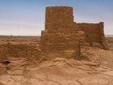 Wukoki Pueblo Masonry Detail and Desert Landscape Photographic Print by Charles Kogod