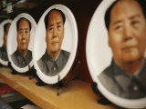Plates and Other Mao Souvenirs for Sale in a Shaoshan Market Photographic Print by Justin Guariglia