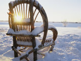 Willow Chair Sitting in Snow at Twilight Photographic Print by Kate Thompson