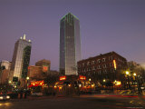 Twilight View of Dallas Street Scene with Bank of America Building Photographic Print by Richard Nowitz