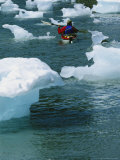 Man Sea Kayaking Around Bits of Icebergs in Prince William Sound Photographic Print by Kate Thompson