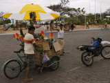 Street Vendors Hawking Goods from Carts on an Island Street Photographic Print by Ralph Lee Hopkins