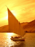 A Felucca Cruises on the Nile River at Sunset Photographic Print by Richard Nowitz