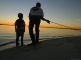 Father and Son Fishing at Dusk Photographic Print by Skip Brown