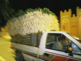 A Truck Load of Leeks Speeds Along a Moroccan City Street Photographic Print by Heather Perry