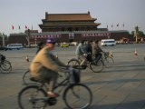 Cyclists Blur by Tiananmen Square Photographic Print by Todd Gipstein