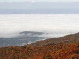 Autumn View of Forested Mountains and Fog-Filled Valley Photographic Print by Charles Kogod