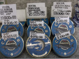 Tins of Russian Caviar for Sale at a Food Market Photographic Print by Richard Nowitz