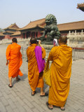 Three Saffron-Robed Monks Tour and Take Photos in the Forbidden City Photographic Print by Richard Nowitz