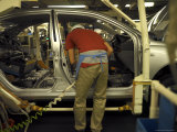 Worker Assembling Hybrid Car at Plant in Japan Photographic Print by Justin Guariglia
