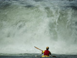 A Kayaker Faces a Waterfall on the Youghiogheny River Photographic Print by Joel Sartore
