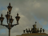 A Lamp Post and Statue of a Horse and Chariot in Dvortsovaya Square Photographic Print by Richard Nowitz