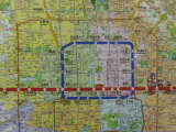 Detail View of a Beijing Map Showing Public Transportation Routes Photographic Print by Richard Nowitz