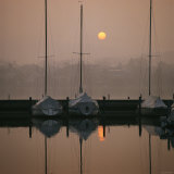 Anchored Sailboats at Sunrise in Mythen Quai Harbor Photographic Print by David Pluth