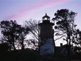 Silhouetted Trees and Nauset Lighthouse at Twilight Photographic Print by Darlyne A. Murawski