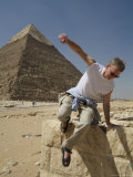 Tourists Explore the Pyramids of Giza Photographic Print by Richard Nowitz
