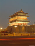 Floodlit Gate on Tiananmen Square with Car Light Streaks Photographic Print by Richard Nowitz