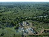 Aerial View of Charcoal Making Kilns in the Pantanal Region Photographic Print by Nicole Duplaix