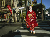 Kimono-Clad Geisha Crosses a Street Photographic Print