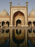 The Domes and Facade of the Jama Masjid Reflected in a Pool Photographic Print