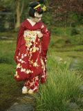 Kimono-Clad Geisha in a Park Photographic Print