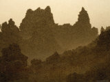A Swarm of Mosquitoes Around Travertine Towers Near Lake Abbe Photographic Print by Carsten Peter
